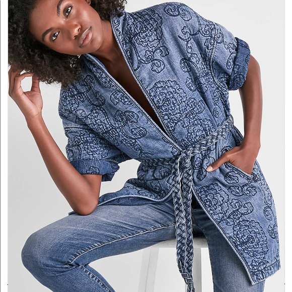3324d19c4 Lucky Brand Jackets & Coats | Floral Quilted Kimono Denim Wrap ...